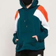 Urban Classics Ladies Oversize 3-Tone Block Hoody tmavě zelená / oranžová / bílá