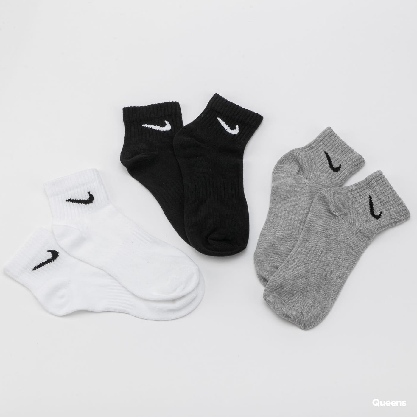 Nike U NK Everyday Lightweight Ankle 3 Pack černé / bílé / melange šedé