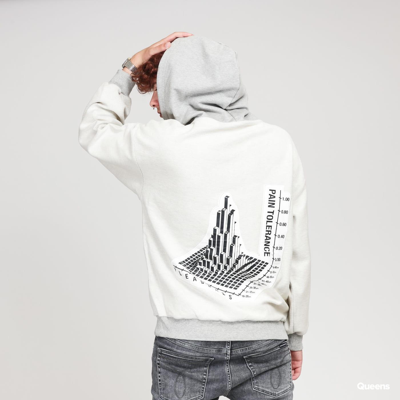 PLEASURES Logo Reverse Hoody krémová / melange šedá