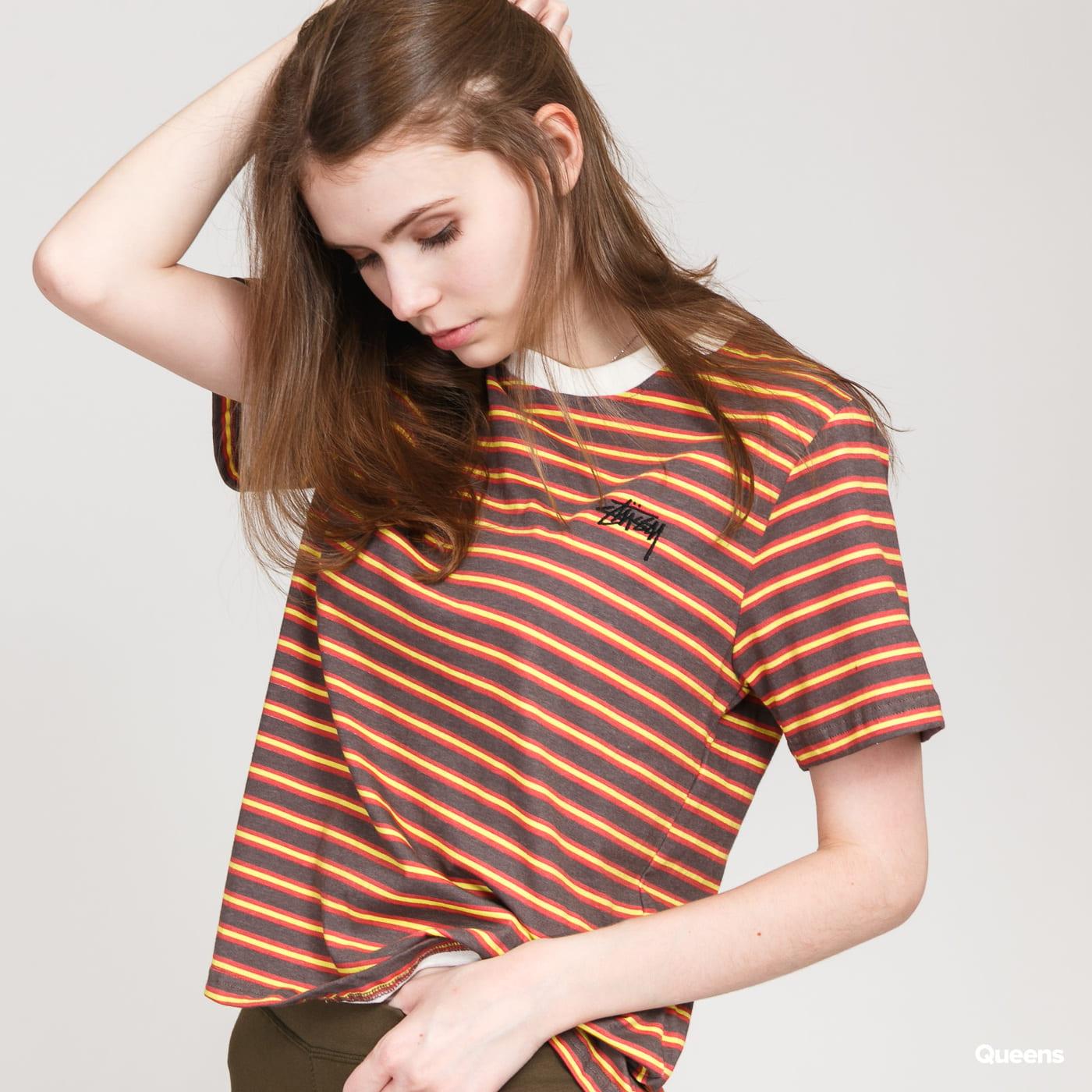Stüssy Printed Stripe Tee dark brown / red / yellow