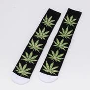 HUF Plantlife Melange Leaves Sock černé / melange zelené / bílé