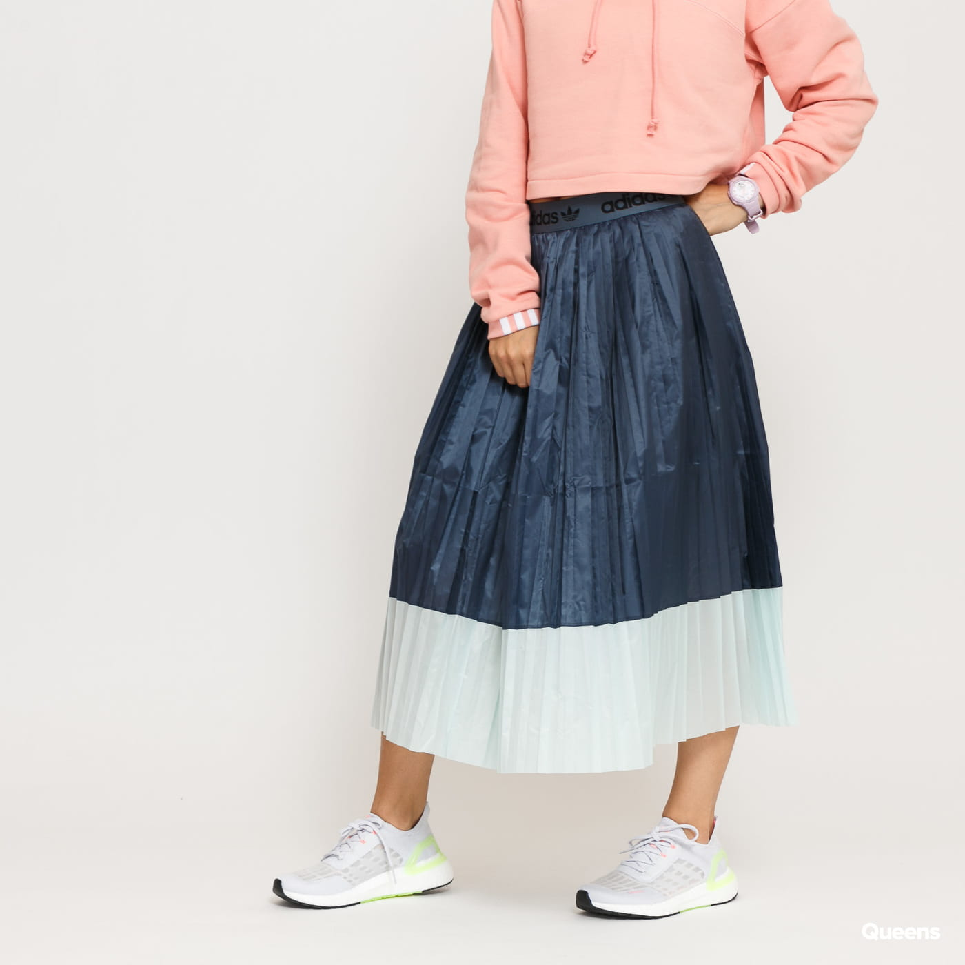 adidas Originals Pleated Skirt dark grey / light green
