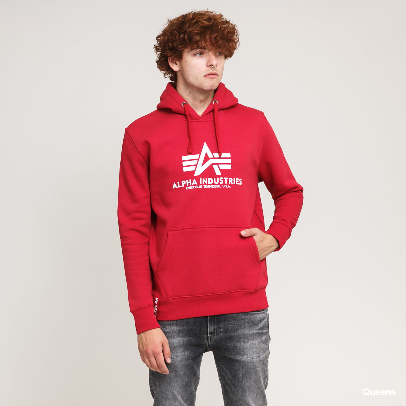 Alpha Industries Basic Hoody červená
