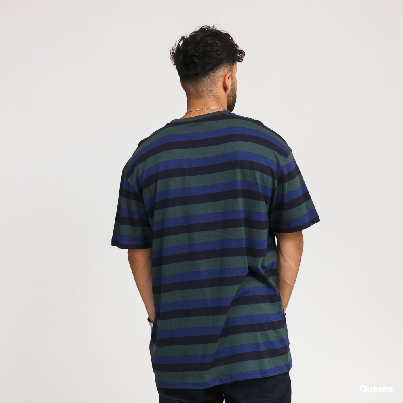 Urban Classics College Stripe Tee tmavě zelené / navy / tmavě modré
