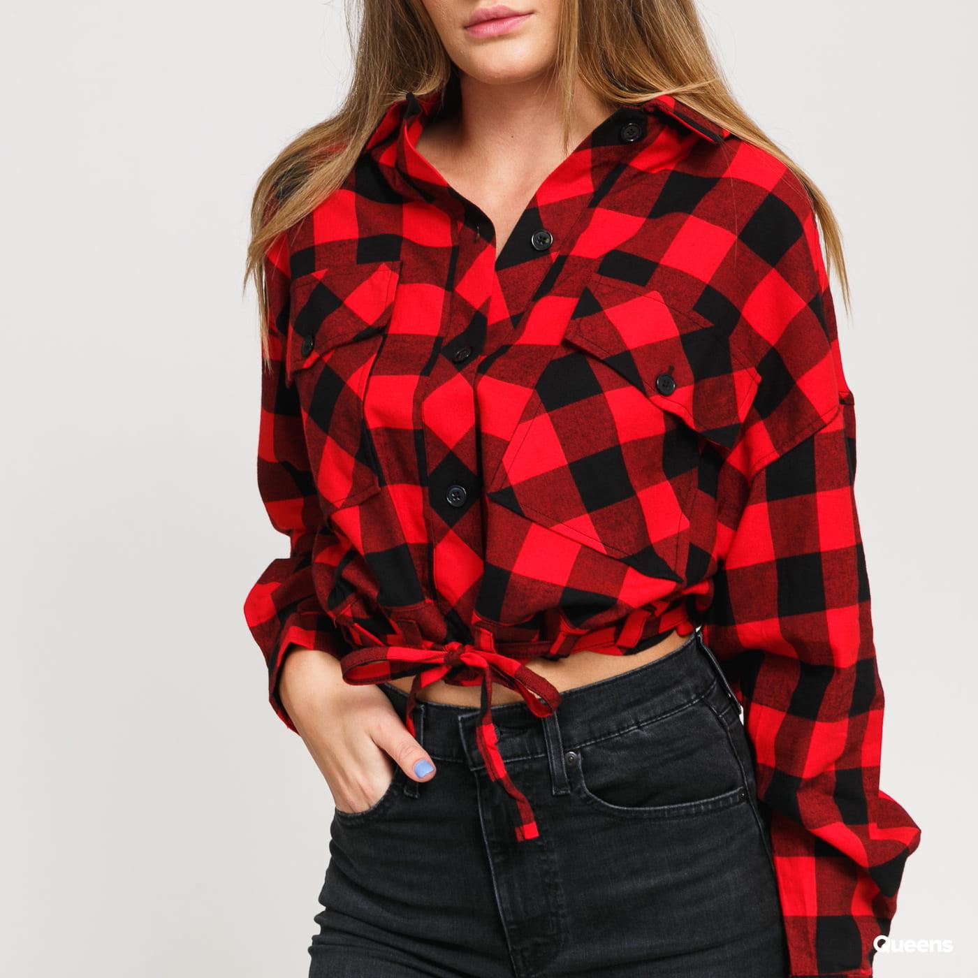 Urban Classics Ladies Short Oversized Check Shirt červená / černá
