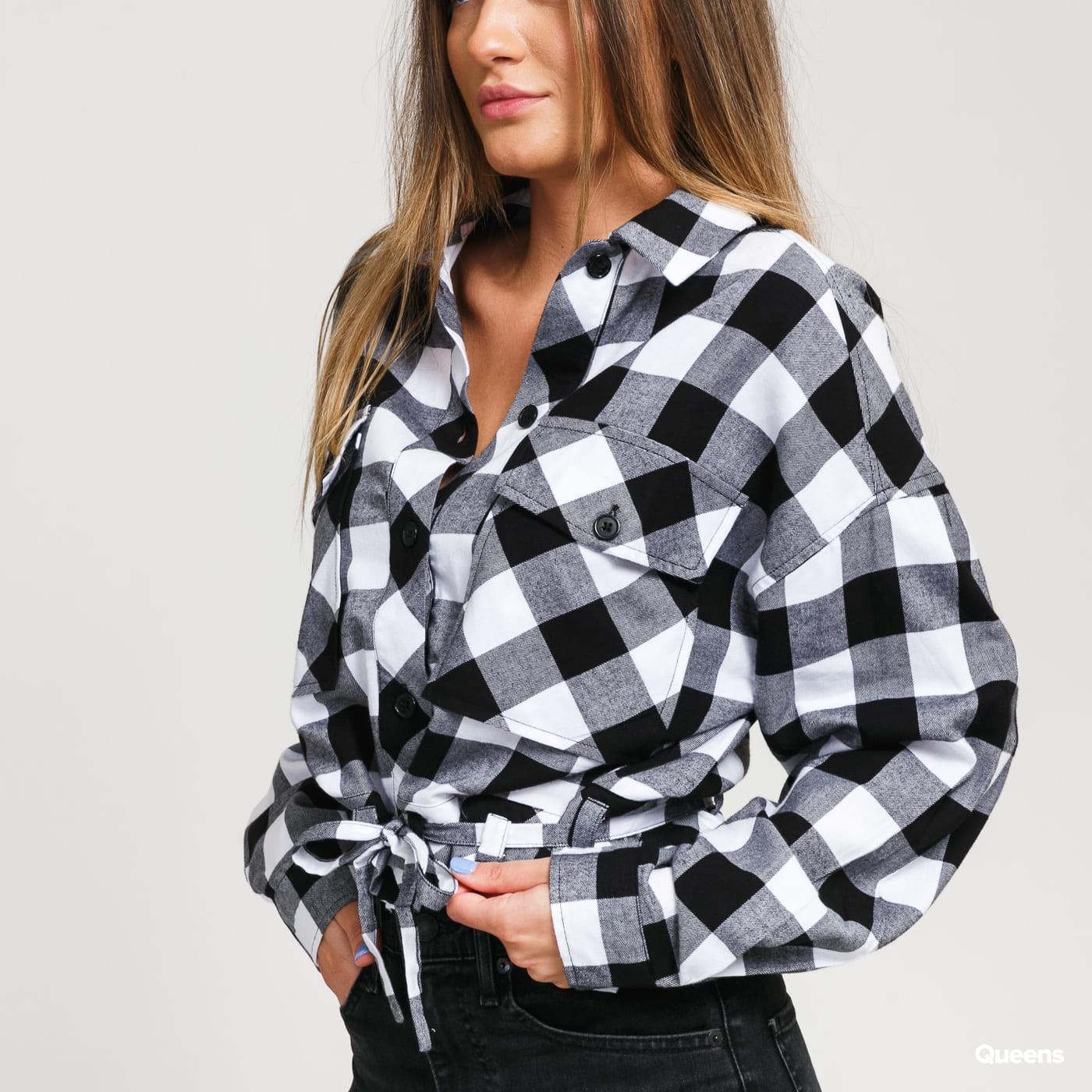 Urban Classics Ladies Short Oversized Check Shirt white / black