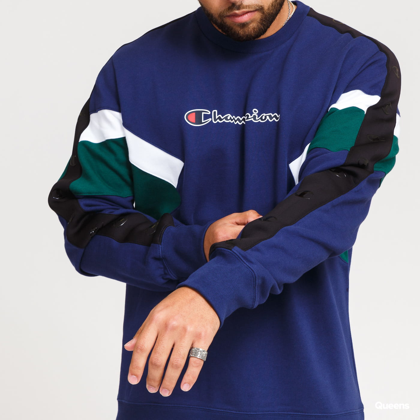 Champion Colorblock Printed Logo Crewneck navy / tmavě zelená / bílá
