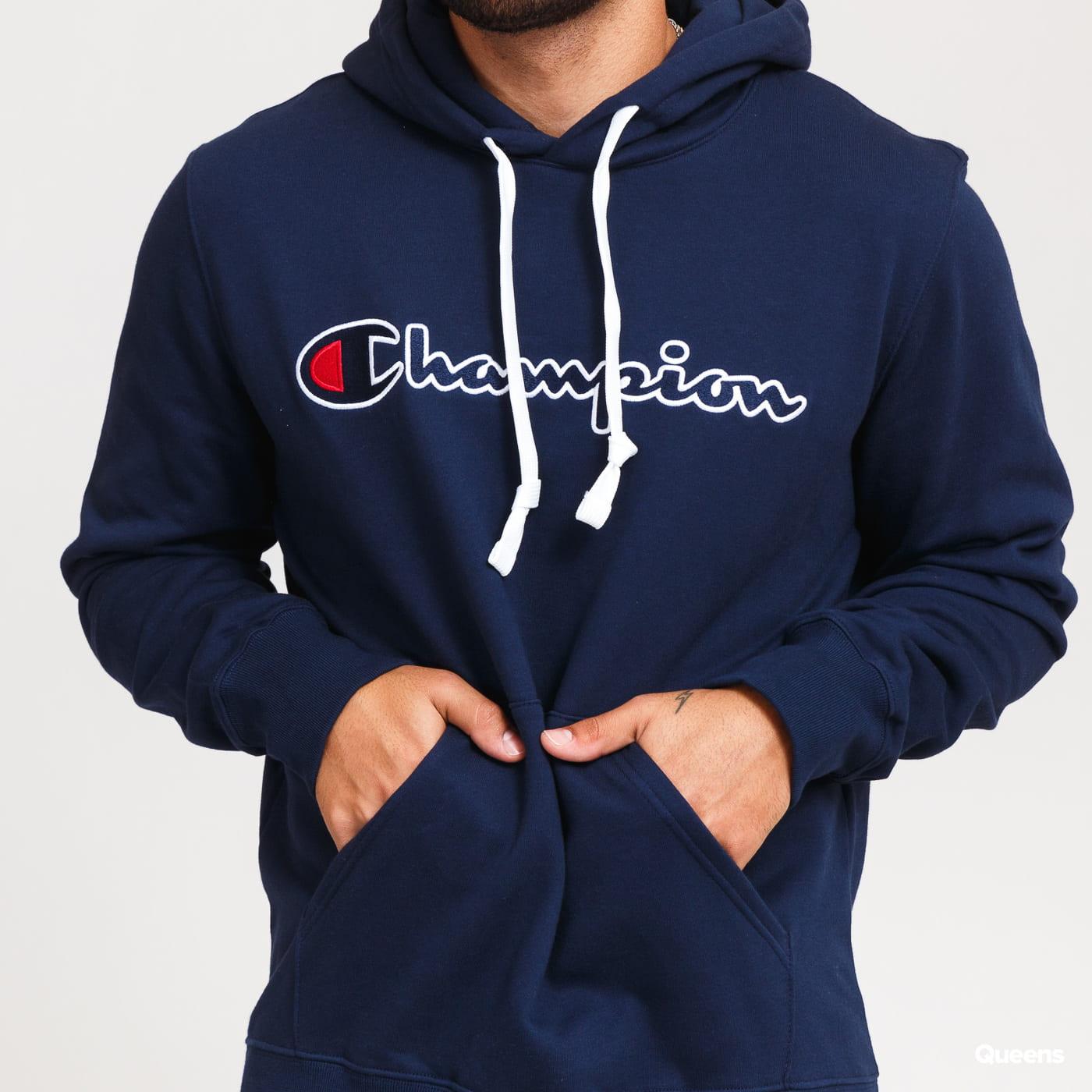 Champion Script Logo Hooded Sweatshirt nava
