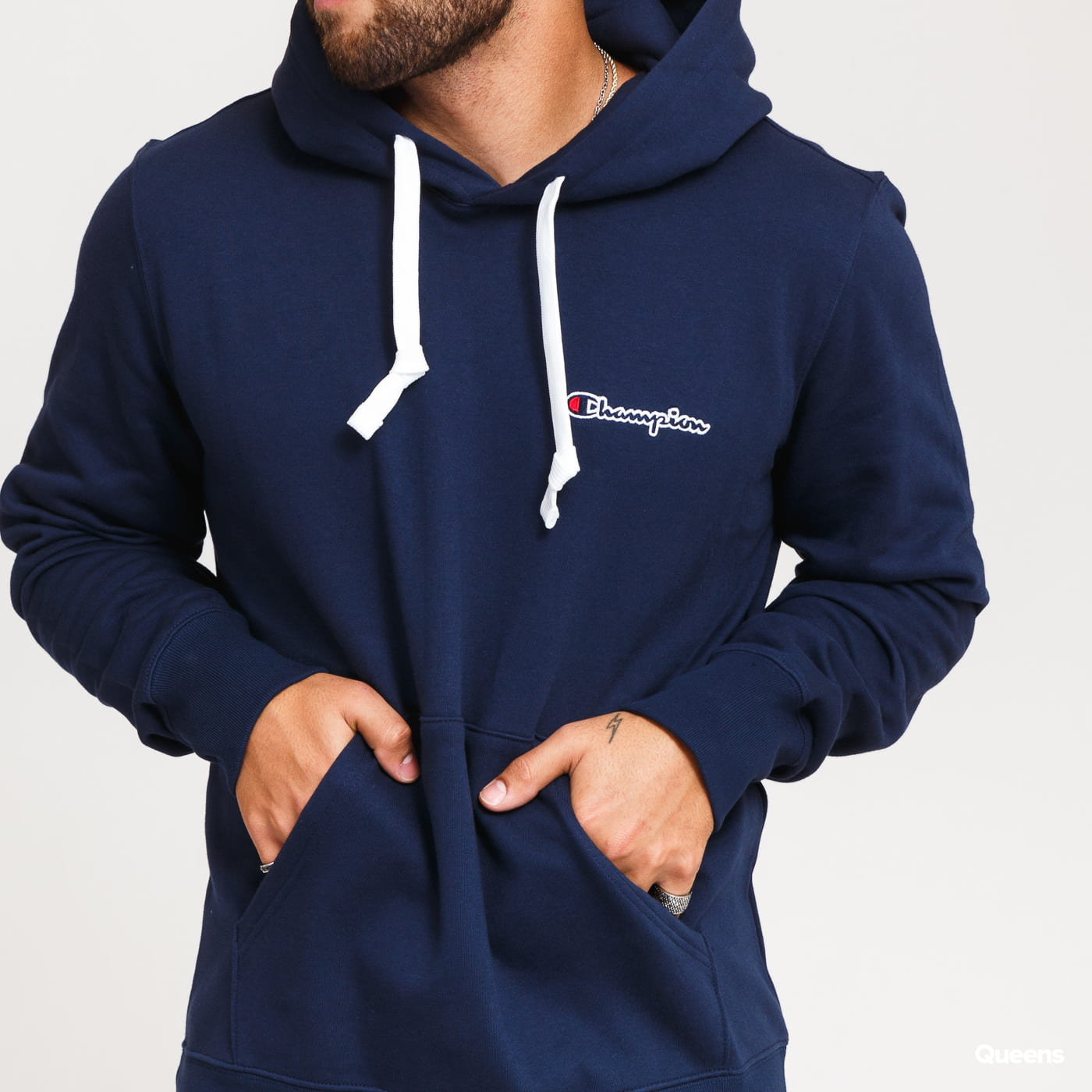 Champion Small Script Logo Hooded Sweatshirt nava