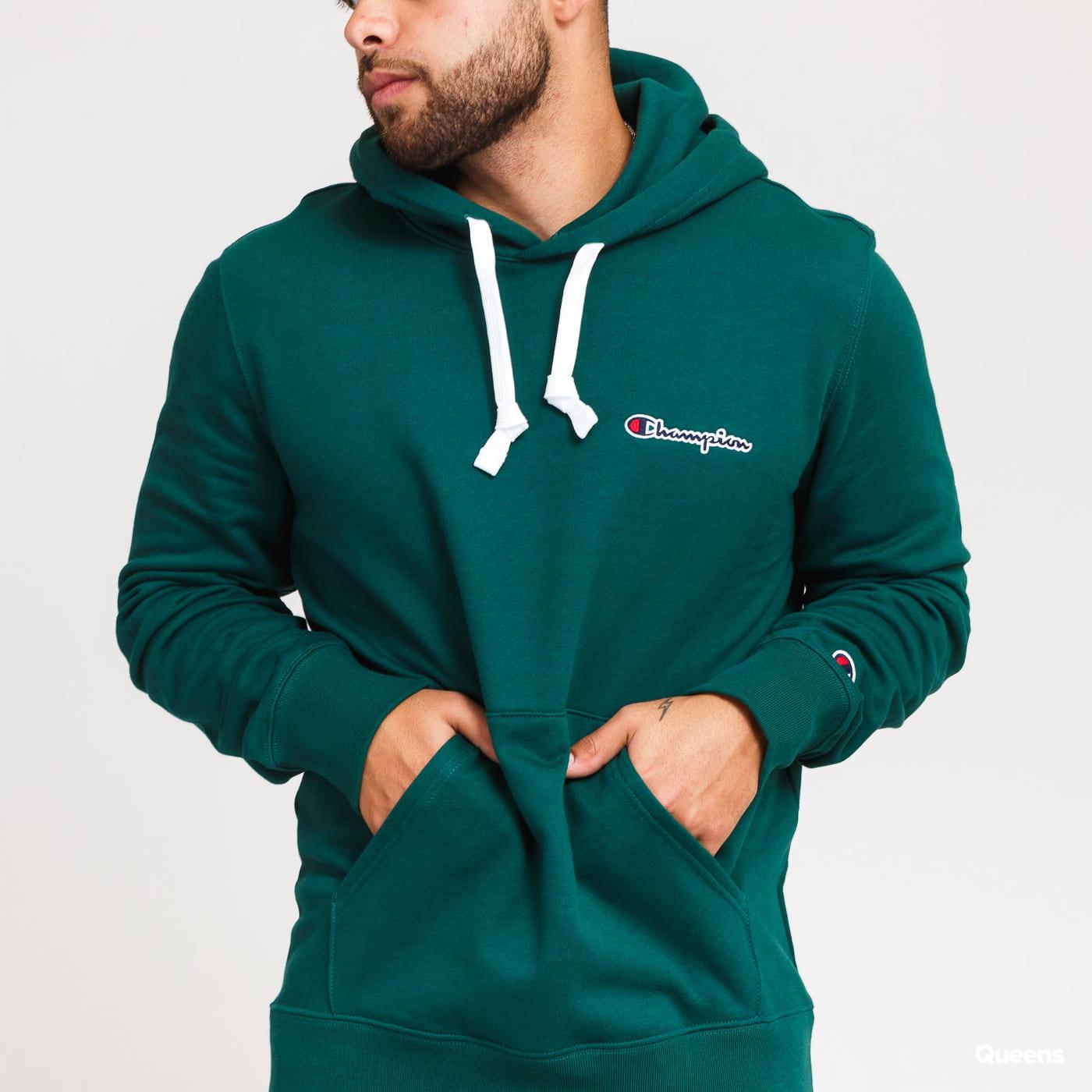 Champion Small Script Logo Hooded Sweatshirt dark green