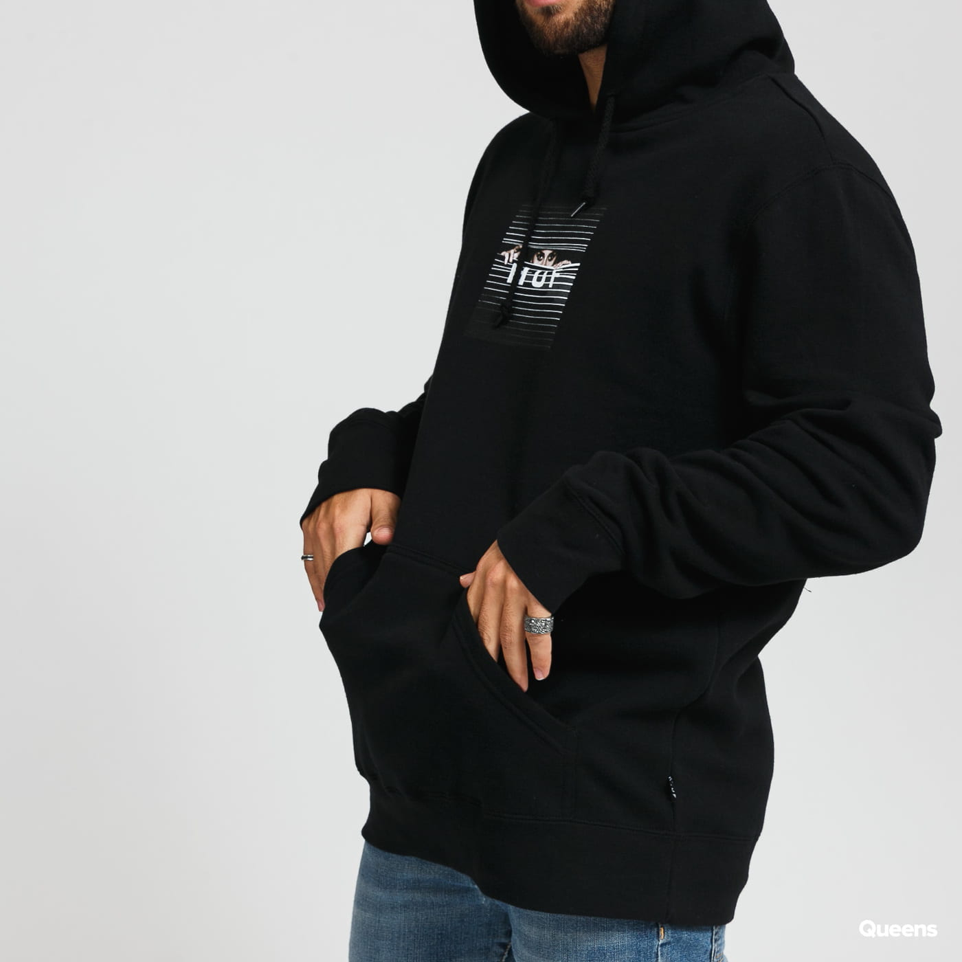 HUF Voyeur Box Logo Hoodie black