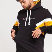 Champion Colorblock Printed Logo Hooded Sweatshirt černá / žlutá / bílá