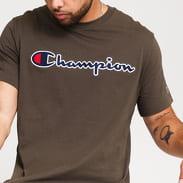 Champion Script Logo Crewneck Tee tmavě olivové