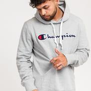 Champion Script Logo Hooded Sweatshirt melange šedá