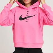 Nike W NSW Swoosh Hoodie Fleece BB neon růžová