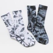 Urban Classics High Socks Tie Dye 2-Pack bílé / tmavě tyrkysové