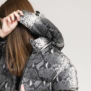 Urban Classics Ladies AOP Hooded Puffer Jacket tmavě šedá / krémová