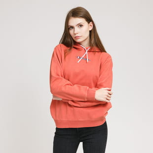 Champion A salmon ladies' sweatshirt from Champion with a spacious hood and a decent chest logo. It is made from 100% cotton which makes it ideal for colder ev