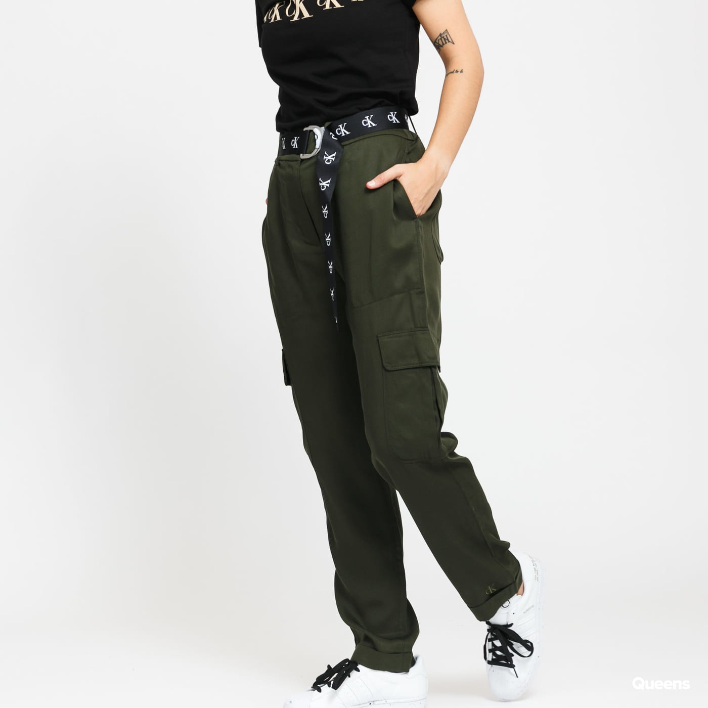 CALVIN KLEIN JEANS W Belted Utility Taper olive