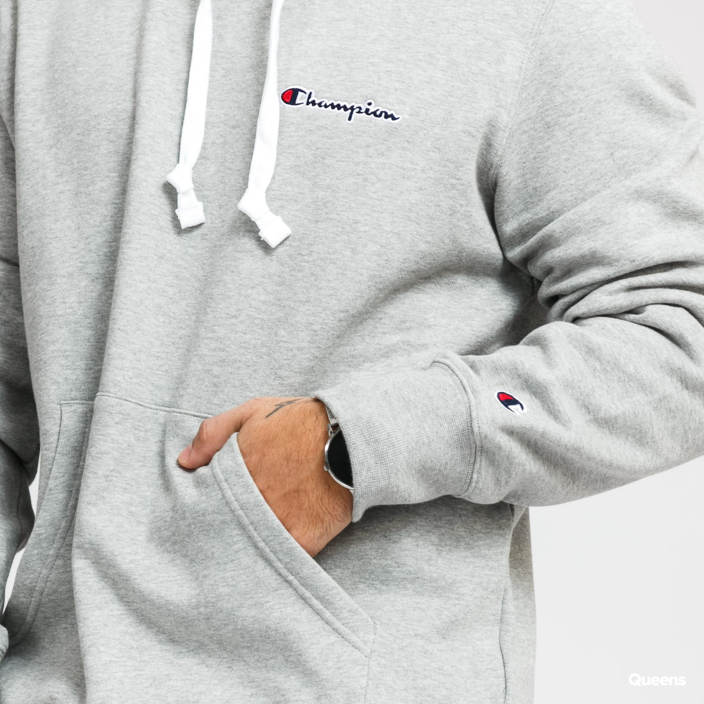 Champion Script Logo Hooded Sweatshirt melange gray