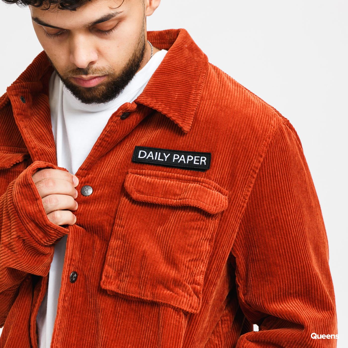 Daily Paper Corduroy Cargo Jacket tmavě oranžová