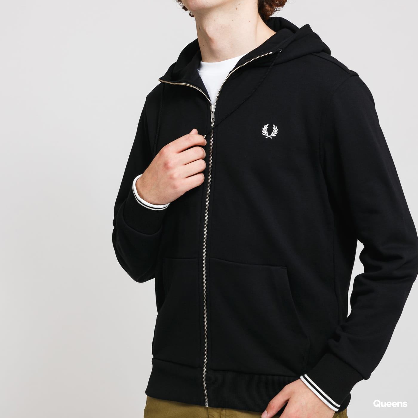 FRED PERRY Hooded Zip Trough Sweatshirt black