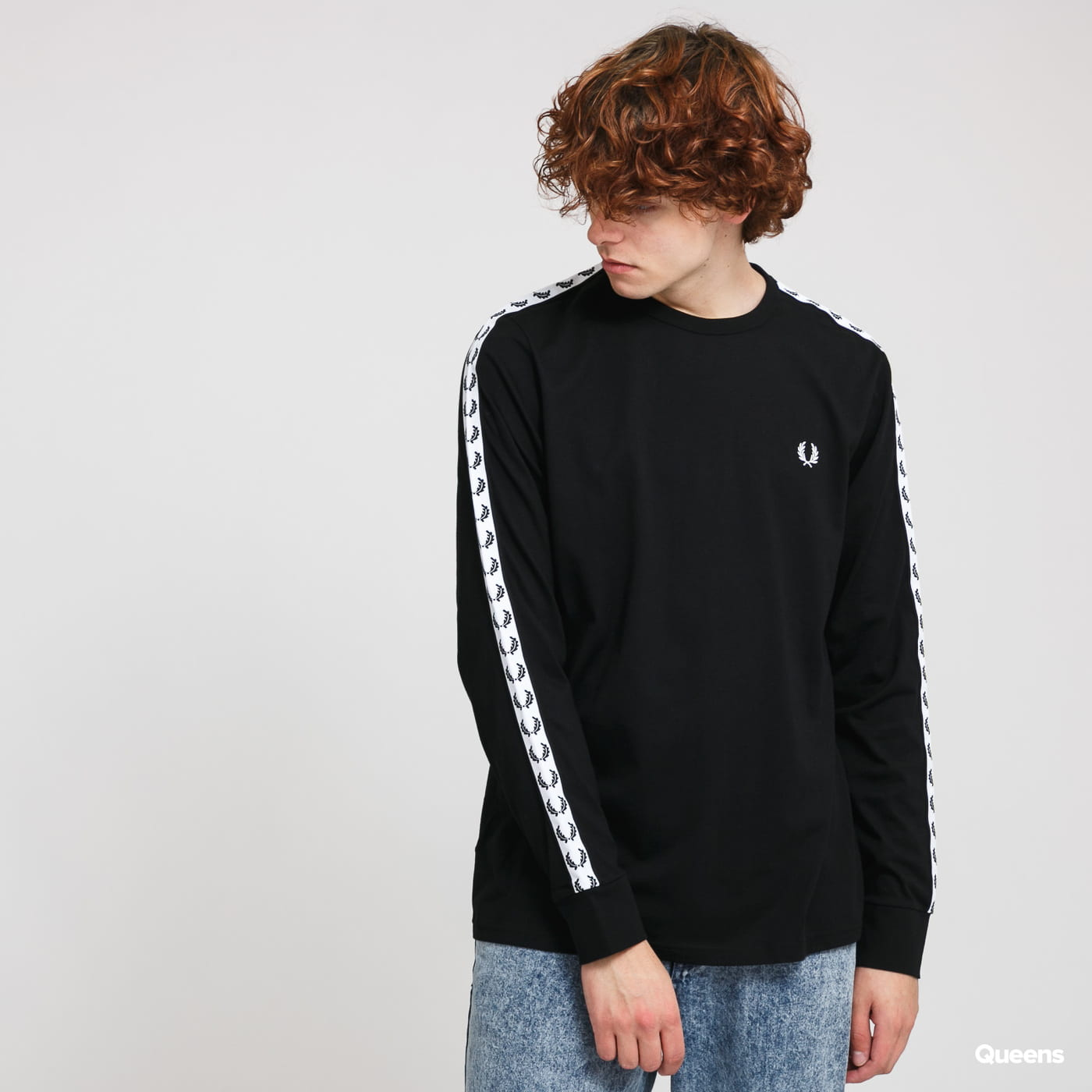 FRED PERRY Taped LS Tee black