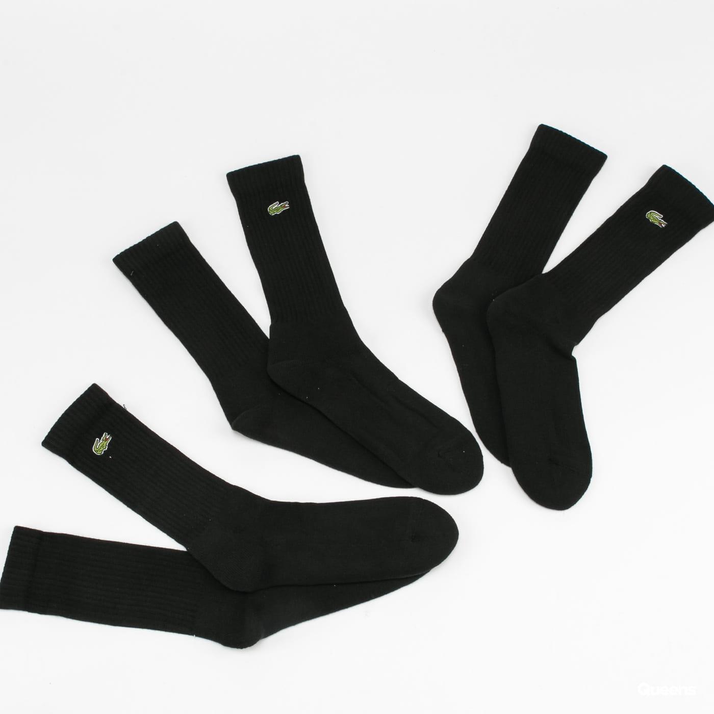 LACOSTE 3Pack Crew Cut Socks černé