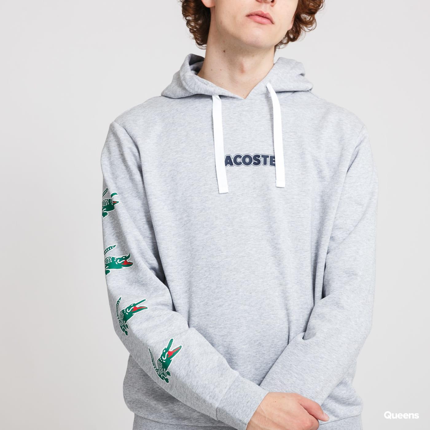 LACOSTE Crocodile Print Hooded Cotton Sweatshirt melange gray