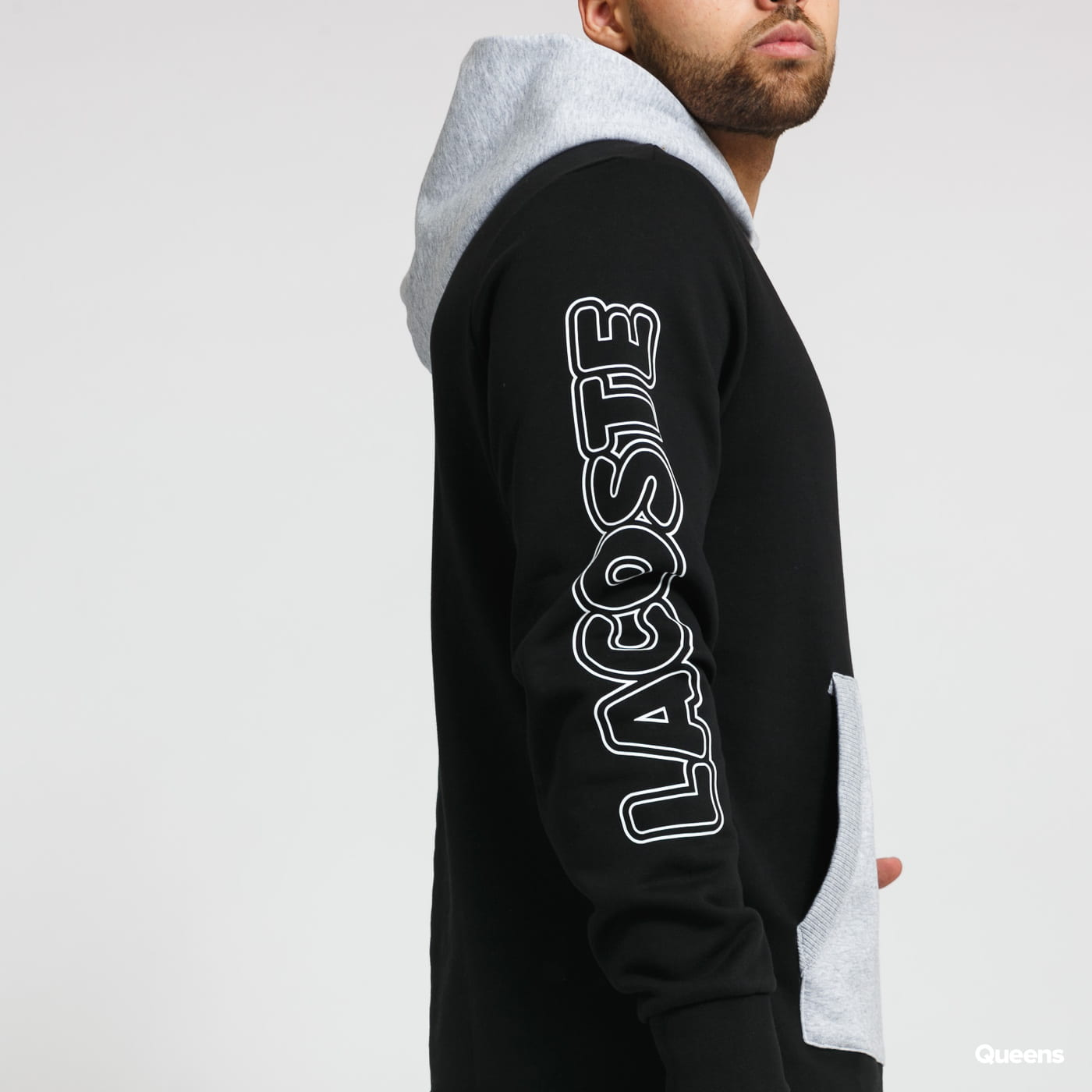 LACOSTE Sport Colourblock Hoodie černá / melange šedá