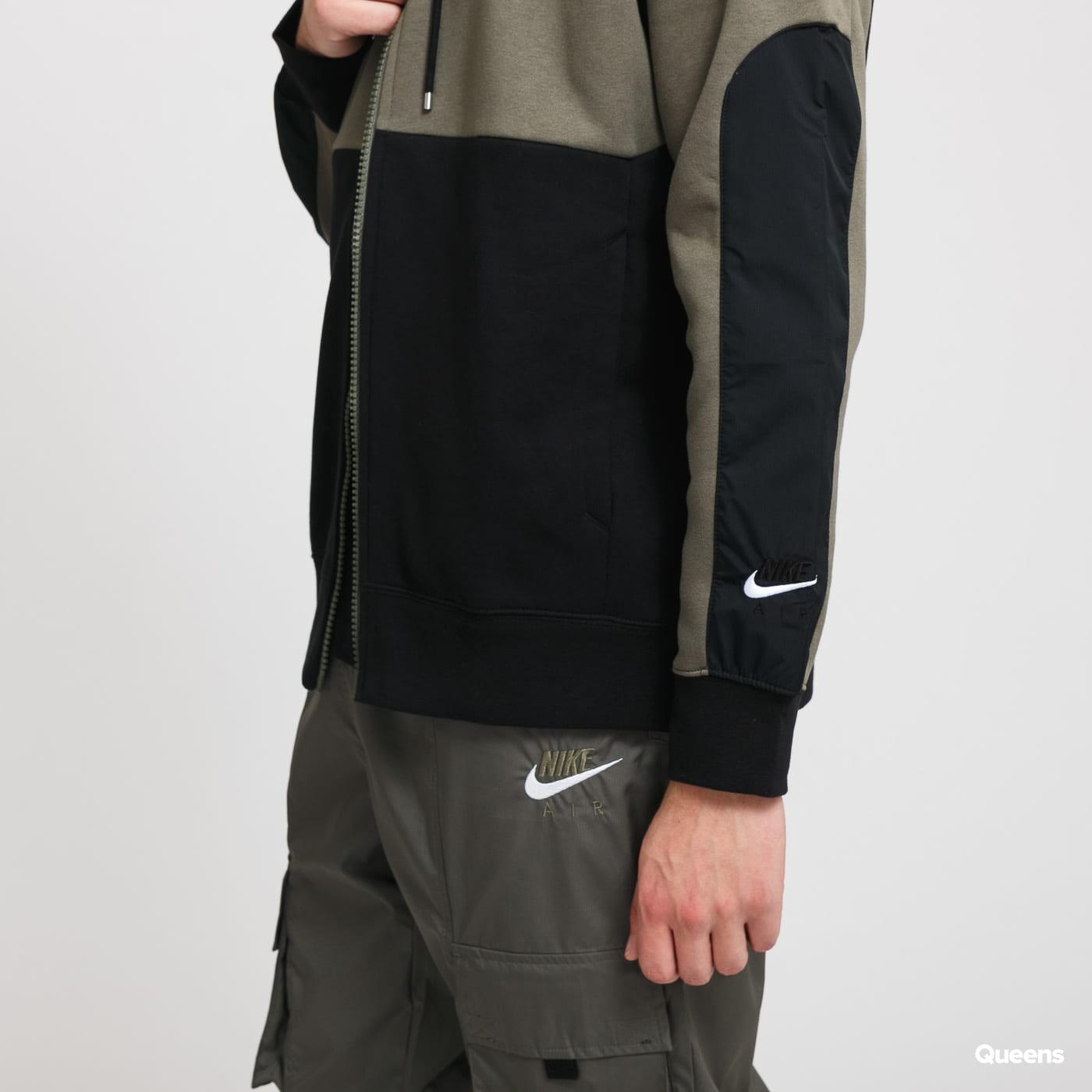Nike M NSE Air Hoodie FZ olivová / černá