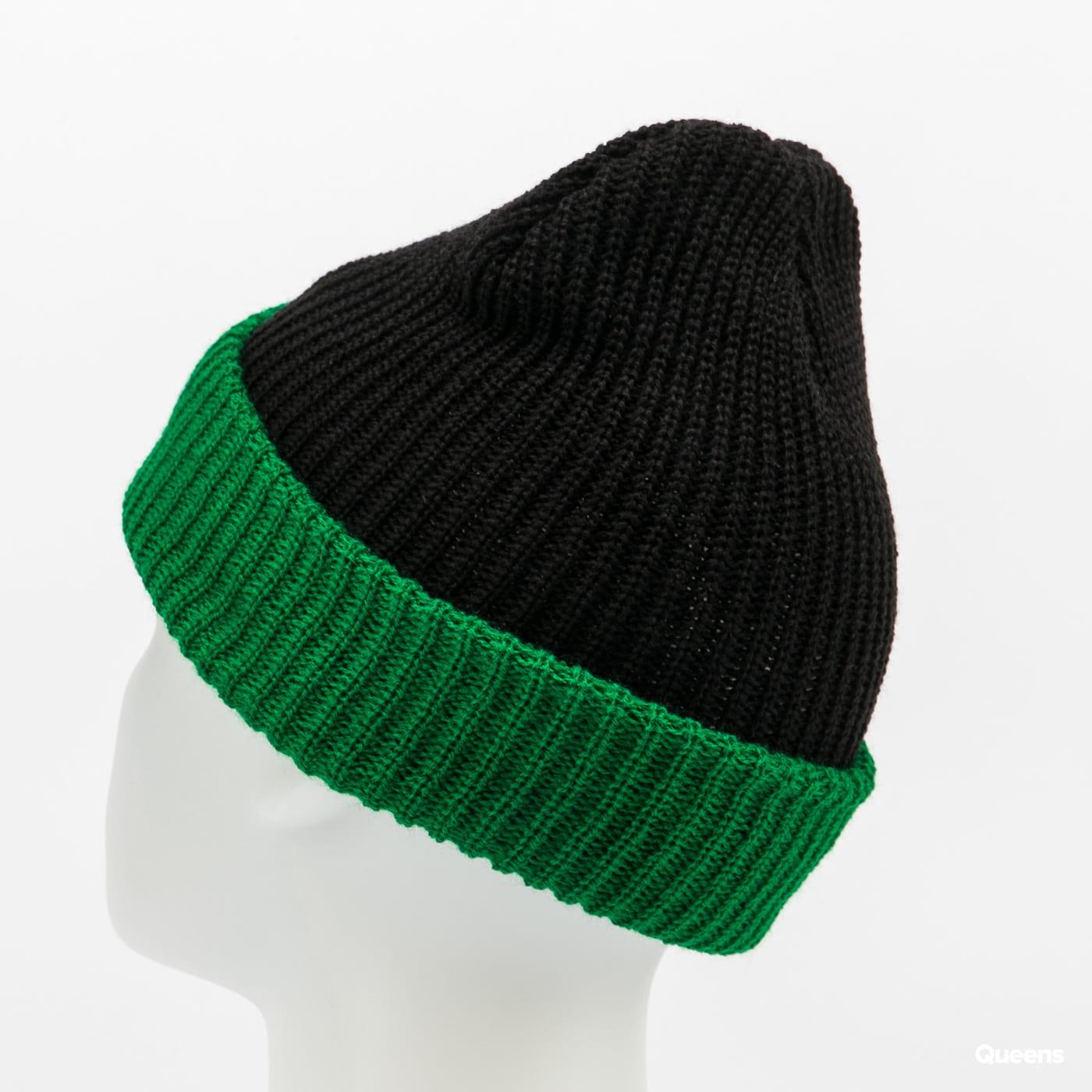 PLEASURES Logo Two Tone Beanie black / green