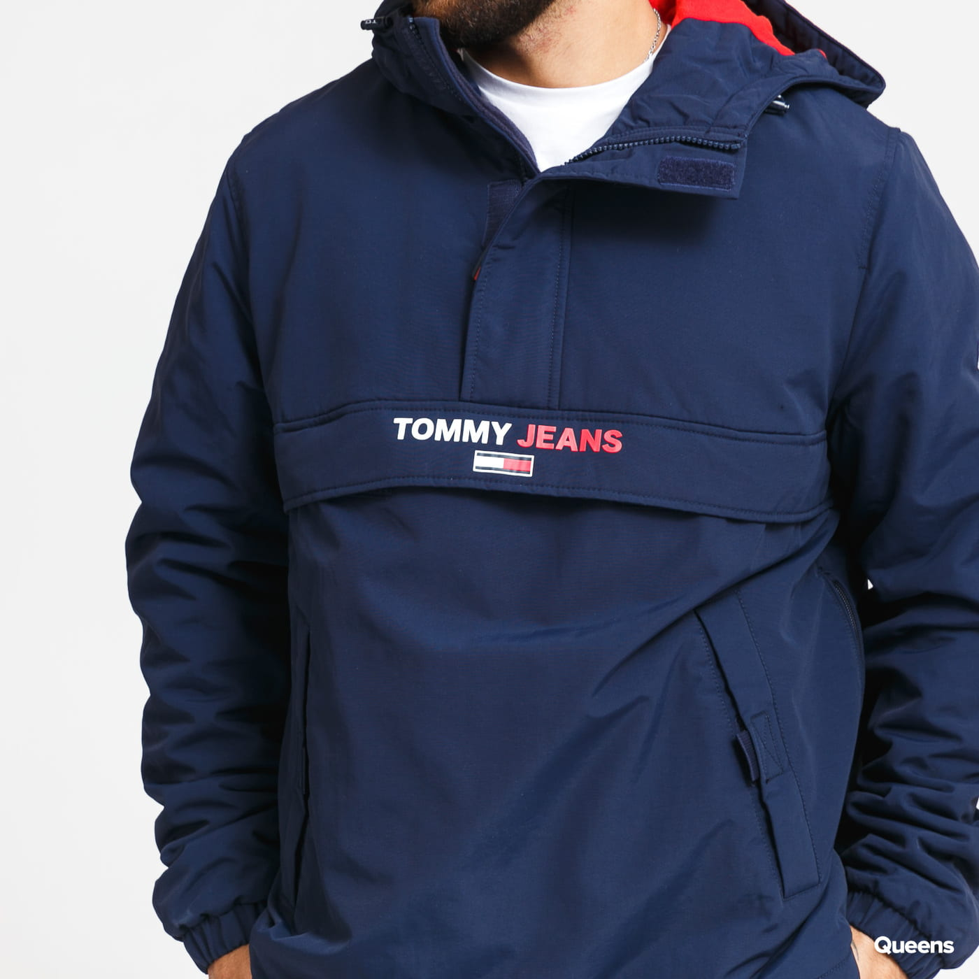 TOMMY JEANS M Solid Popover Jacket navy