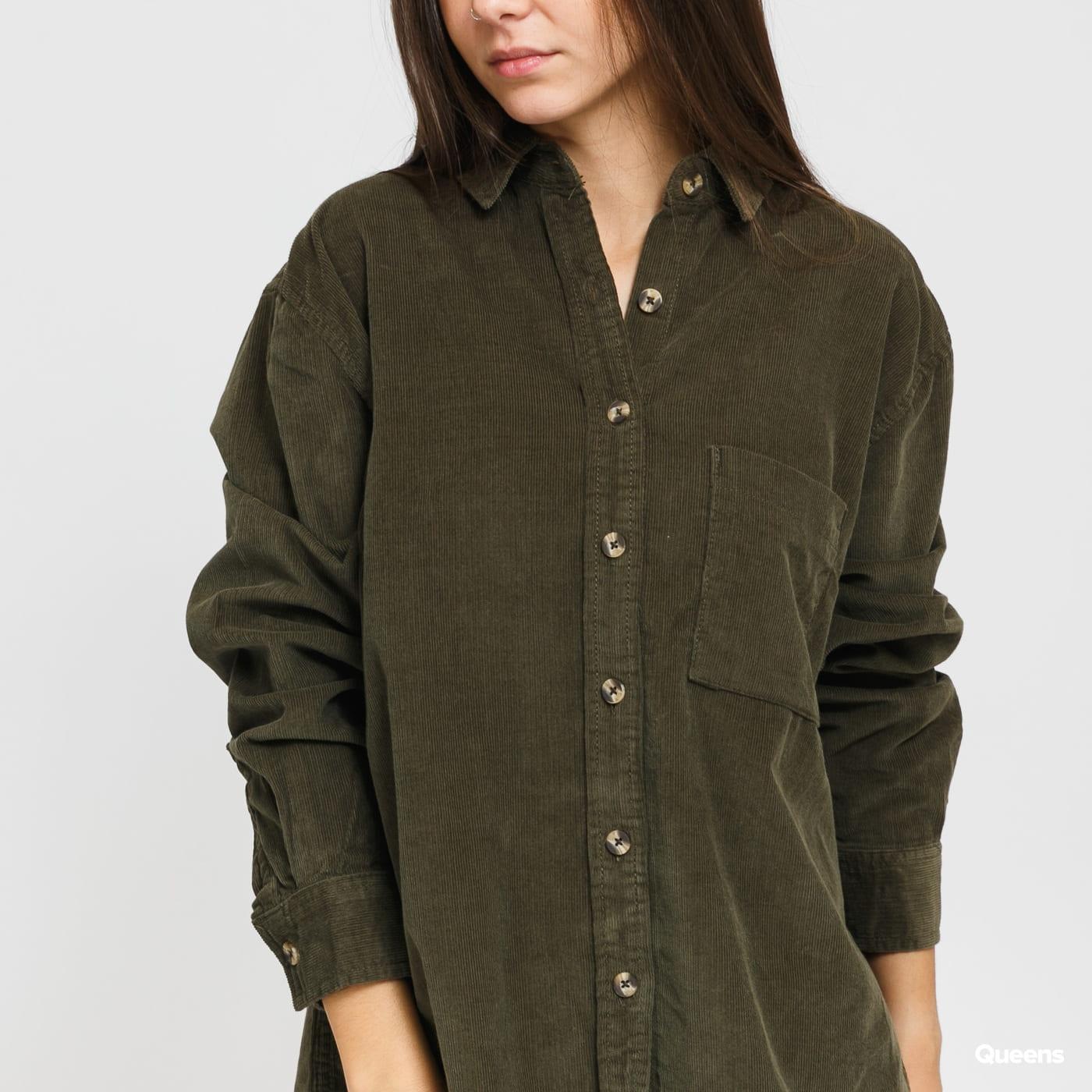 Urban Classics Ladies Corduroy Oversized Shirt olive