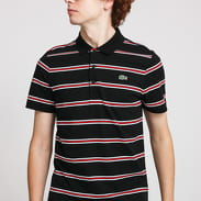 LACOSTE Striped Lightweight Cotton Polo Shirt černé