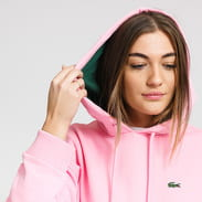 LACOSTE Women's Contrast Pocket Fleece Hood Sweatshirt růžová