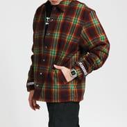 PLEASURES Paradox Heavyweight Coaches Jacket vínová / zelená / žlutá