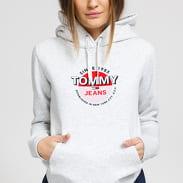 TOMMY JEANS W Essential Logo Hoodie melange šedá
