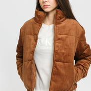 Urban Classics Ladies Corduroy Puffer Jacket hnědá