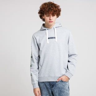 LACOSTE Crocodile Print Hooded Cotton Sweatshirt