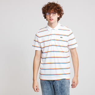 LACOSTE Striped Lightweight Cotton Polo Shirt