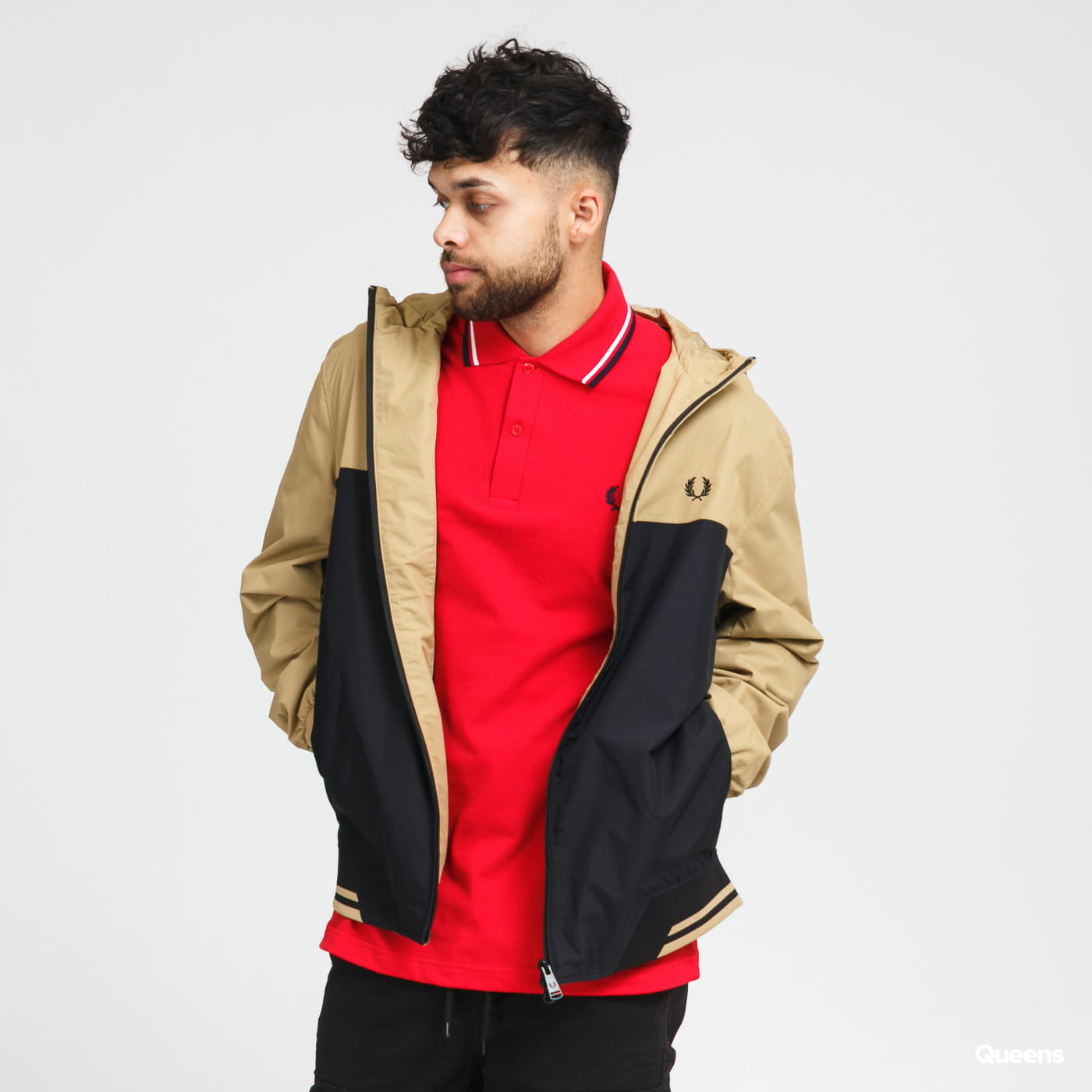 FRED PERRY Colour Block Hooded Brentham black / beige