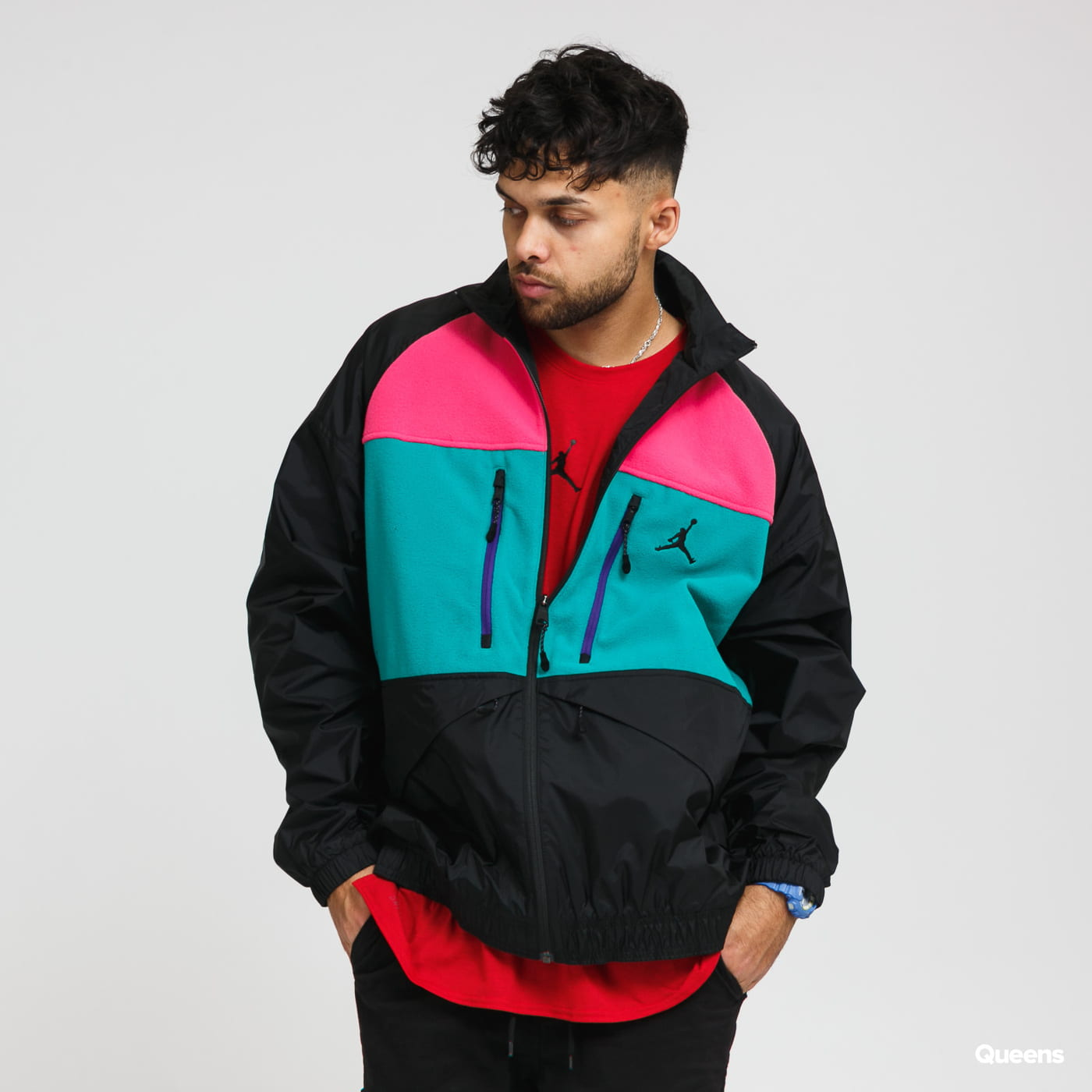 Jordan M J Mountainside Jacket green / black / pink