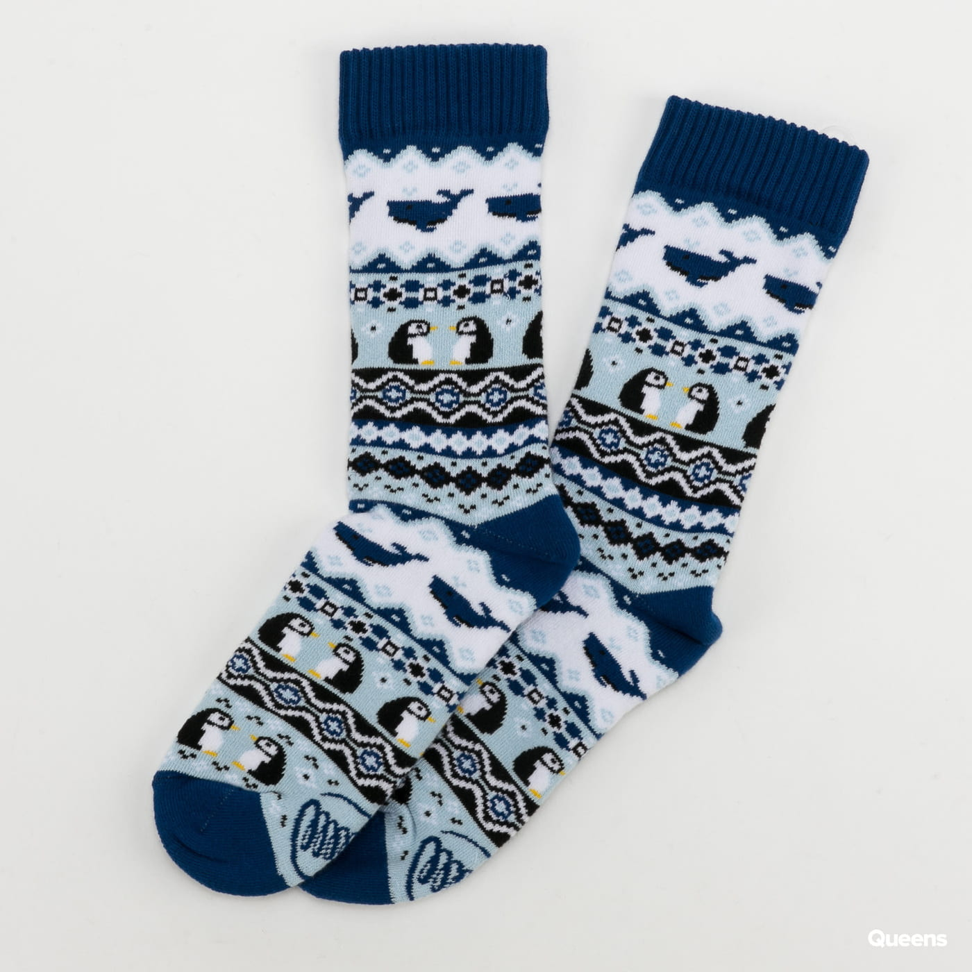 Many Mornings Ice Pinguin Socks avětle modré / tmavě modré / bílé