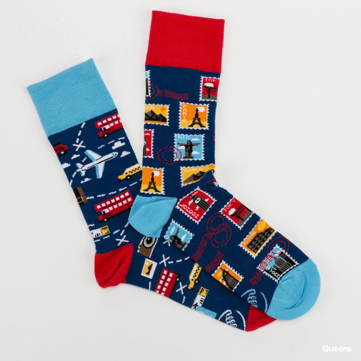 Many Mornings The Traveler Socks tmavě modré / červené / světle modré / žluté / bílé