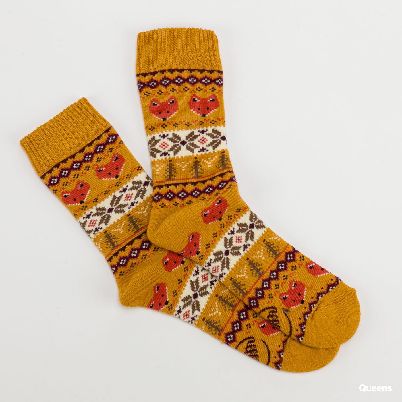 Many Mornings Warm Fox Socks tmavě žluté / oranžové / bílé / vínové