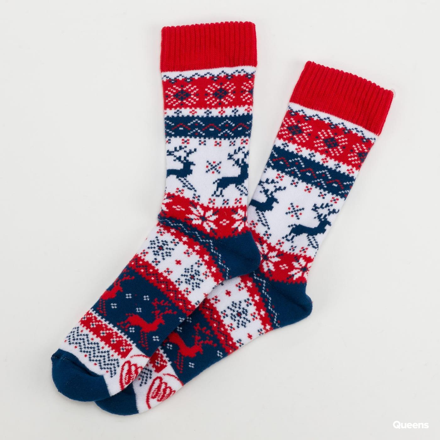 Many Mornings Warm Rudolph Socks red / dark blue / white