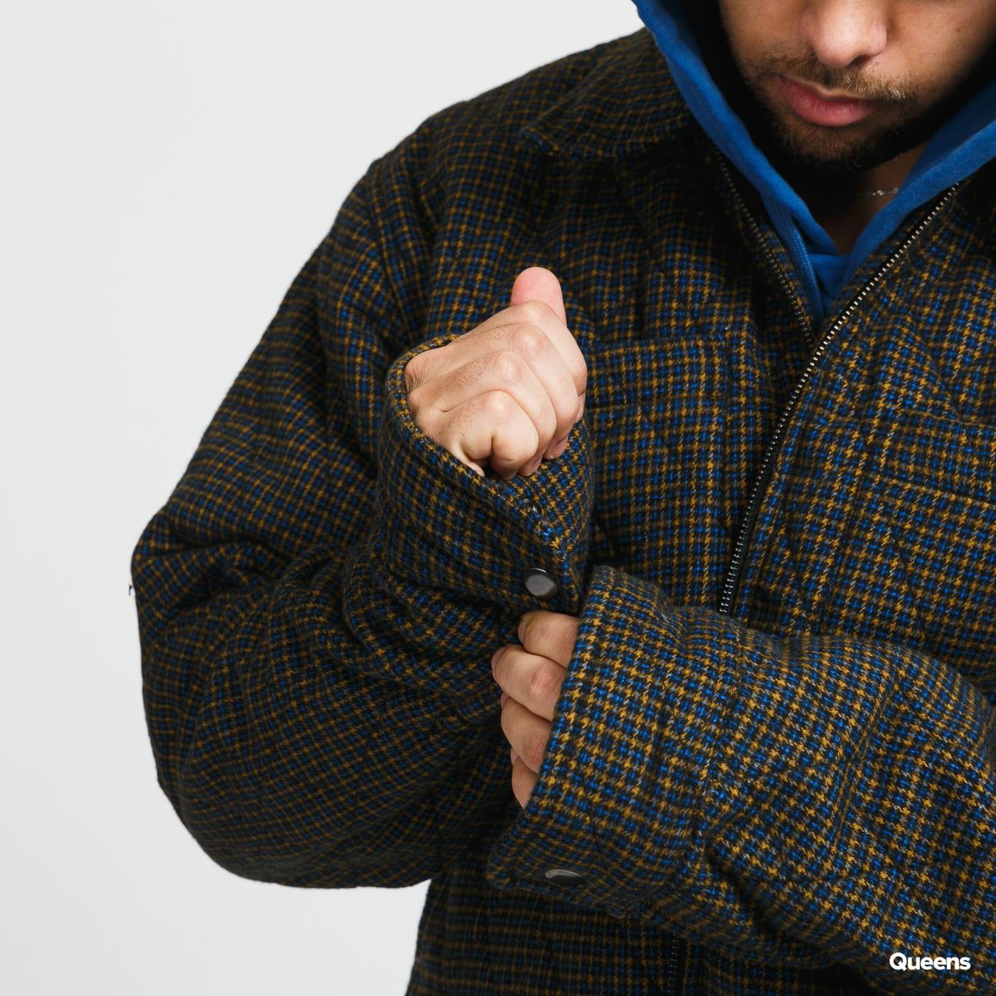 Stüssy Mini Check Quilted Zip Shirt modrá / žlutá