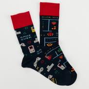 Many Mornings Game Over Socks navy / červené / šedé / žluté