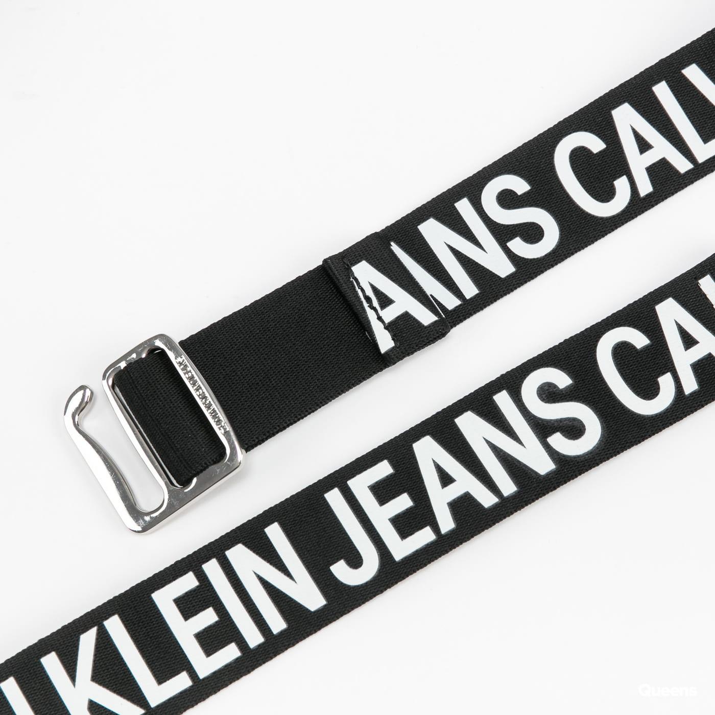 CALVIN KLEIN JEANS Slider Tape Belt 35mm černý / bílý